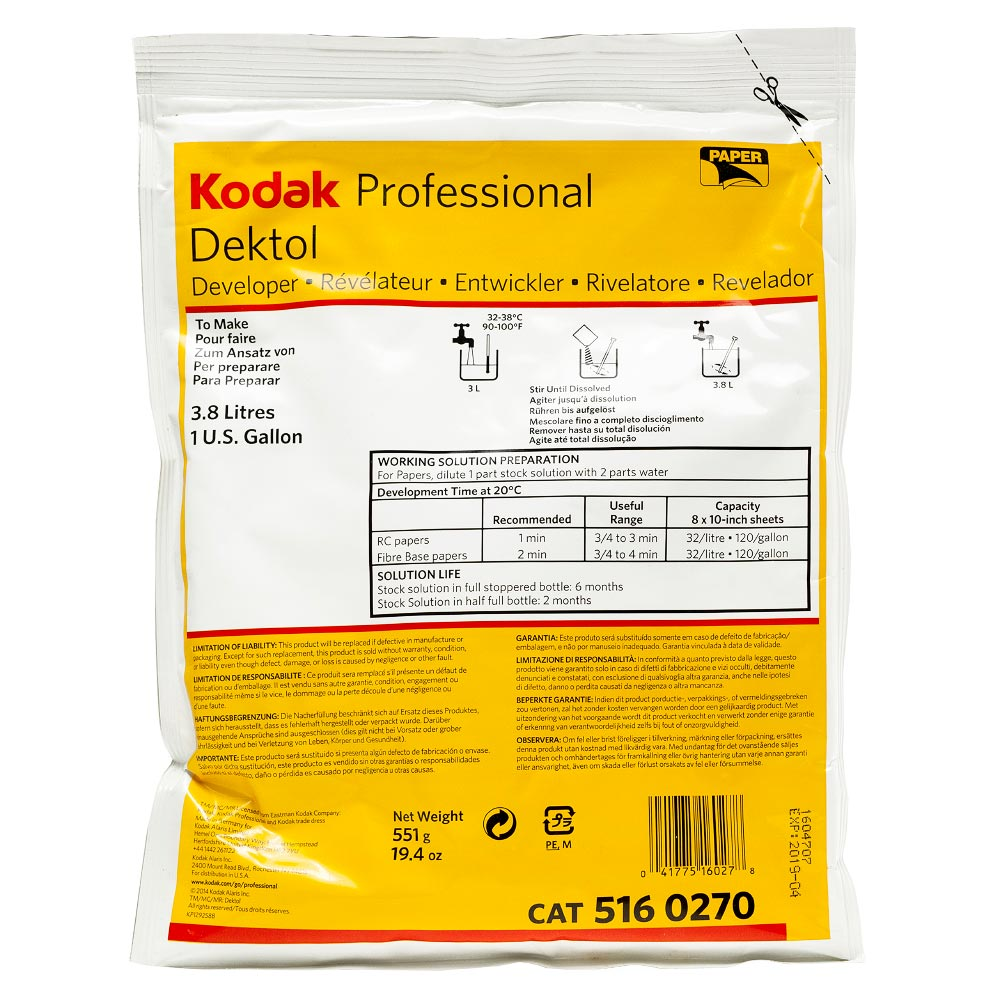 Kodak Professional DEKTOL Paper Developer – Powder to make 3.8 Liters
