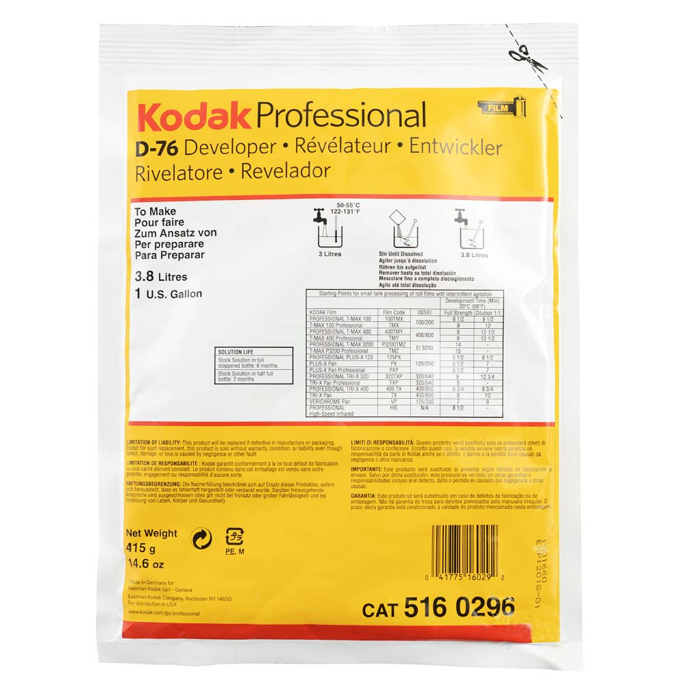 Kodak Professional D-76 Film Developer – Powder to make 3.8 Liters