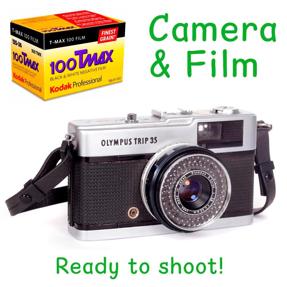 Olympus Trip 35 Camera with Neck Strap & One Roll of Kodak TMax 100 Film