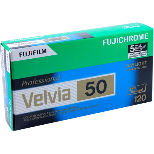 FujiChrome Professional Velvia 50 Color Reversal/Slide 120 Roll Film – 5 Pack