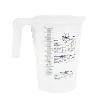 Adox 1000ml geaduated beaker - back