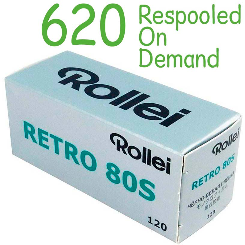 Rollei Retro 80S Black & White 620 Roll Film – Respooled On Demand