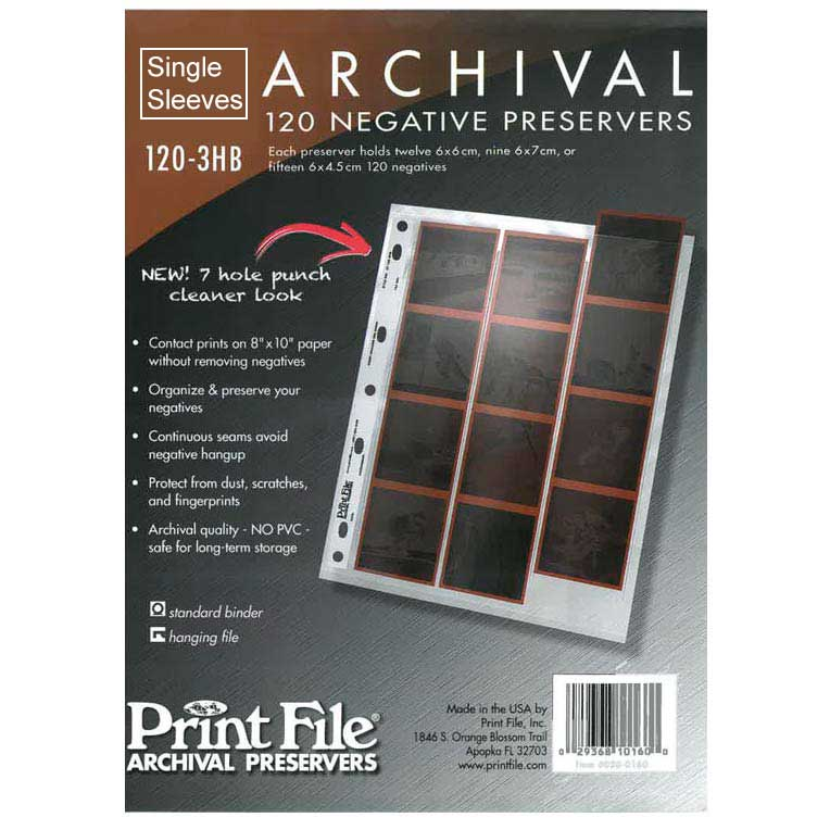 Printfile PF 120-3HB Archival Negative Preservers – Single Sleeves