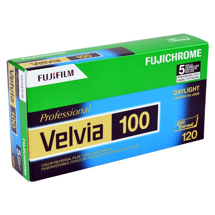 FujiChrome Professional Velvia 100 Color Reversal/Slide 120 Roll Film – 5 Pack